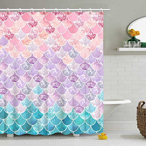 Shower Curtain 3D Mermaid Scales, Lilac Purple Pink Blue Ocean Theme, Bathroom Bedroom Wall Decor as Tapestry and Photo Booth Backdrop 70.8 inch