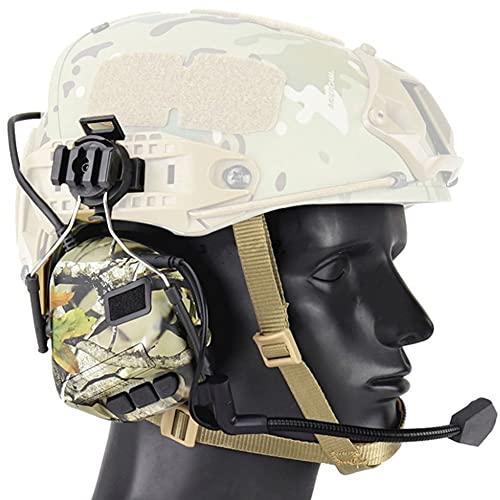 Tactical Helmet Headset, para CS Combats Games Airsoft Auriculares Micrófono con cancelación de Ruido Auricular, Anillo Remoto PTT Security Military Walkie, Casco Earmuff,Noise Reduction Jungle