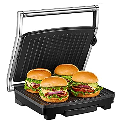 Deik Sandwich Toaster, Panini Grill with Temperature Control, 4-Slice Extra Large Sandwich Press for Family, 2000W Non-Stick Coated Plates and Removable Drip Tray, Stainless Steel from Deik