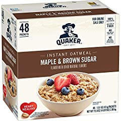 Good Source of Fiber – Quaker Oats provide a good source of fiber to support a healthy digestive system. See nutrition facts for total fat per serving. Made with 100% Whole Grains Includes 48 packets Maple and Brown Sugar flavor