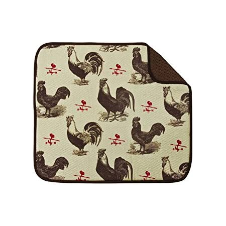 Envision Home Farmhouse Rooster Microfiber Dish Drying Mat 16-Inch by 18-Inch