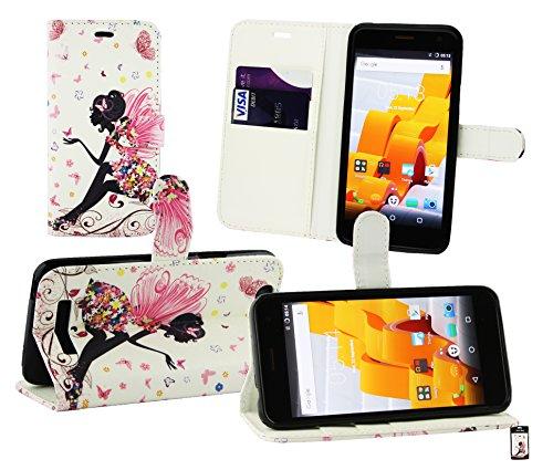Emartbuy® Wileyfox Spark Plus/Wileyfox Spark Wallet Etui Hülle Hülle Cover aus PU Leder mit Kreditkartenfächern - Fee Mädchen