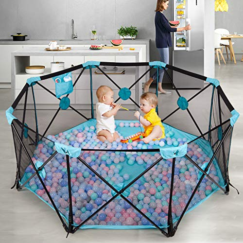 Hadwin Baby Playpen, 8 Panel Foldable and Portable Play Yard for Baby Toddlers, Large Activity Centre with Breathable Mesh and Storage Bag,Indoor&Outdoor Safe Playard (Blue)
