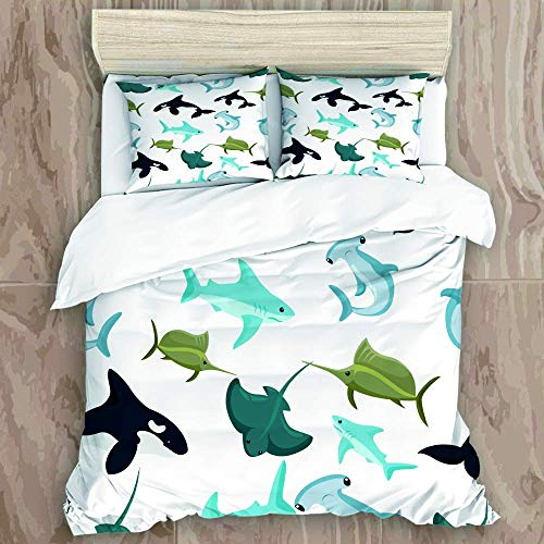 Knncch Duvet Cover Set,Seamless Pattern of Hammerhead and Blue Shark sphyrna Manta orca,Decorative 3 Piece Bedding Set with 2 Pillow Shams