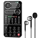 Live Sound Card, ALPOWL Voice Changer with Mini Microphone, Earphone, Handheld Microphone Voice Changer Sound Effects Machine for PS4/Xbox/Switch/Computer/Laptop/IPad/Android/iPhone or All Smartphone