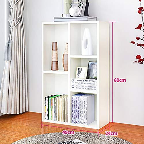 MShelf 5-Quadrato Libreria, 49 X 24 X 80 Cm (l X W X H), Home Ufficio File Organizer, Studente Semplice da Terra Deposito Bookshelf-Bianca 49x24x80cm