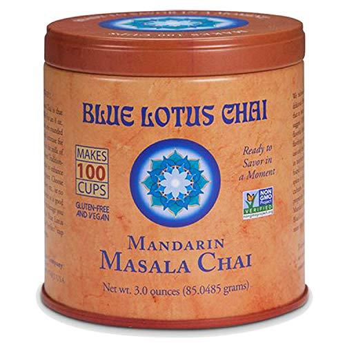 Blue Lotus Chai - Mandarin Flavor Masala Chai - Makes 100 Cups - 3 Ounce Masala Spiced Chai Powder with Organic Spices - Instant Indian Tea No Steeping - No Gluten