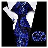 YSJJOSX Corbata para Hombre Set Set Jacquard Tejido de Seda Corbata Hanky Gemelos Necktie Conjuntos (Color : S18)