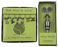 テニスラケットボトルストッパー テニステーマ ワインチャーム&テニスラケットセット