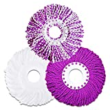 LEMNUY Microfiber Cotton Spin Mop Heads Replacement - 3 Pack Refills Compatible 360 Spinning Magic Mops Bucket - Round Shape Standard Size Multicolor Removable Easy Washings