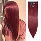 Ombre Clip in Hair Extensions Balayage Two Tones Highlighted 8PCS Clip on Synthetic Hairpiece Full Head Long Straight Wavy Hair for Women- 26' Straight Maroon Mix Dark Red