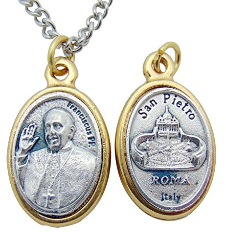 Pope Francis Embossed Medal 3/4 Inch Silver Tone Metal on 24 Inch Stainless Steel Chain Gift