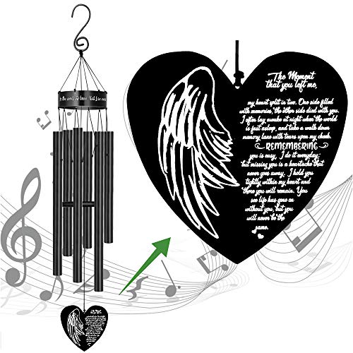 MEMGIFT Memorial Wind Chimes for Loss of Loved One Sympathy Gifts Loss of Father Mother Husband Son Daughter Grandma Heart Windchimes Rememberance Outside Outdoor Indoor Garden Yard Porch Patio