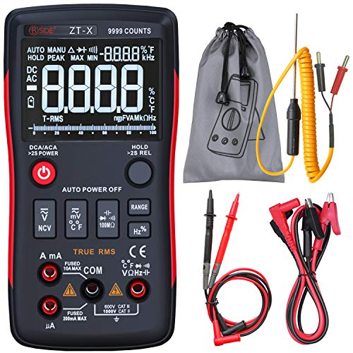 BSIDE True RMS Digitales Multimeter, 3 Zeilen-Display, 9999 Counts, Knopf-Design, automatische Rangierung, Elektriker, DMM, Temperatur, Kapazität, Voltmeter mit Krokodilklemme