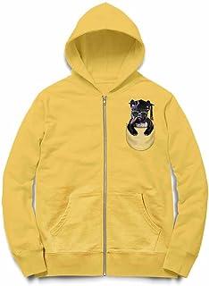 Fox Republic ブルドッグ 角帽 ポケット 犬 イエロー キッズ パーカー シッパー スウェット トレーナー 110cm