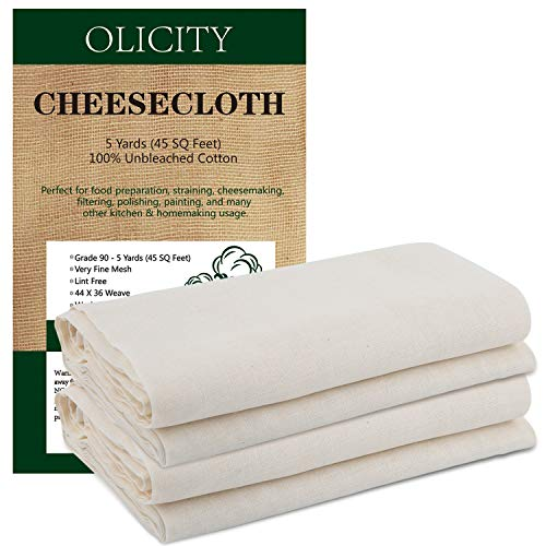Olicity Cheesecloth, Grade 90, 45 Square Feet, 100% Unbleached Cotton Fabric Ultra Fine Muslin Cloths for Butter, Cooking, Strainer, Baking, Halloween Decorations – 5 Yards