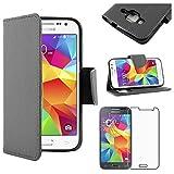 ebestStar - Compatible Coque Samsung Galaxy Core Prime SM-G360F, 4G SM-G361F VE Etui PU Cuir Housse Portefeuille Porte-Cartes, Noir +Film Protection Verre Trempé [Appareil: 130.8 x67.9 x8.8mm, 4.5'']