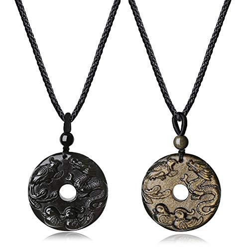coai Geschenkideen Partner Glücksketten aus Obsidian und Obsidian Gold mit Mandarinenenten Gravur Drache und Phönix Gravur Anhänger