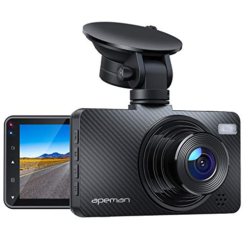 "APEMAN Dash Cam 1080P Car Camera with 3"" LCD Screen, 170° Wide Angle, G-Sensor, WDR, Loop Recording, Motion Detection, Night Vision"