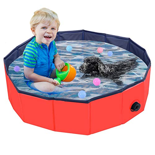Faltbarer Hundepool, Haustier Faltbarer Swimmingpool, Planschbecken Hundebadewanne Swimmingpool für Hunde, Wasserteich Pool Kinderbecken zum Haustiere Schwimmen und Baden im Freien, Rot(80 x 20cm)