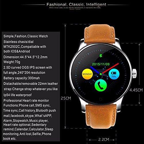 Smart Watch K88H 2018 Neue Bluetooth Smartwach 3 cm IPS-Bildschirm Unterstützung Herzfrequenz Monitor Schrittzähler Armbanduhr für iOS Android (schwarzes Leder/Einheitsgröße)