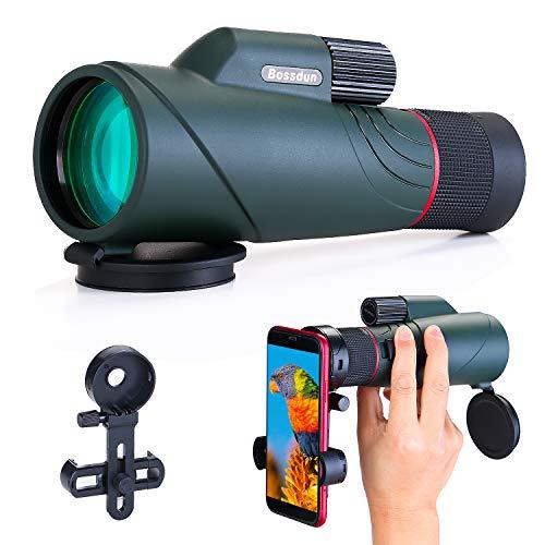 10-20x50 Monoculare per Adulti, HD Monoculare Telescopio Impermeabile con Supporto per Smartphone per Osservazione Uccelli Escursioni Turistiche Escursionismo Caccia Campeggio Viaggi