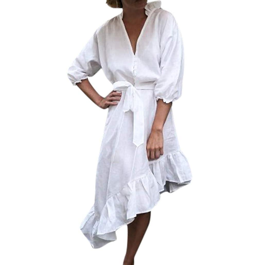 徹底インフラ啓示クリアランス女性ファッションボタン包帯ソリッドランタンスリーブディープネック不規則なドレス仕事長袖夏のドレスカジュアルセクシーなパーティードレス