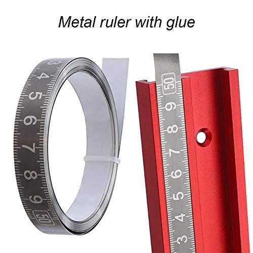 Cinta métrica de Acero Inoxidable para riel de inglete de 1-3 m Regla de Escala métrica autoadhesiva Regla Duradera a Prueba de óxido y Resistente al Desgaste - de Derecha a Izquierda 2 m