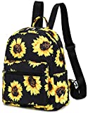 Mini Backpack Girls Cute Small Backpack Purse for Women Teens Kids School Travel Shoulder Purse Bag (Black Sunflower)