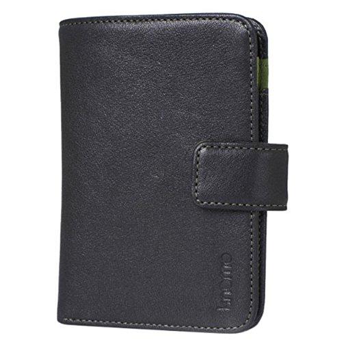 Knomo Luxe Lederen Portemonnee met Pocket voor MP3-speler, Oortelefoons, briefpapier, Flash Drive, Kladblok en Potlood of Tabak en Papieren Clip Popper Fastener