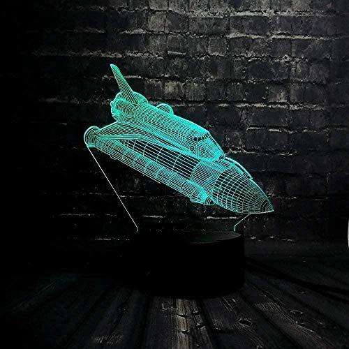 Lámpara de ilusión 3D de avión cohete, luz junto a la luz nocturna, 7 colores, interruptor táctil de cambio automático, decoración de escritorio, lámparas, regalo de cumpleaños-16 colors remote