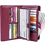 Itslife Womens Wallet,Large Capacity RFID Blocking Leather Wallets Credit Cards Organizer Ladies Wallet with Checkbook Holder,Wine Red