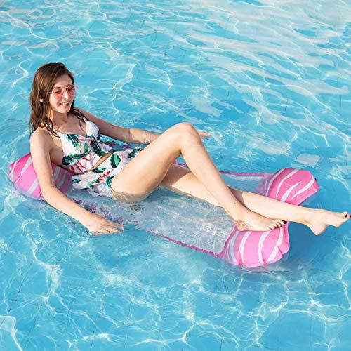 Tencoz Flotadores Piscina, 4 en 1 Hamaca Piscina Hamaca de Agua Flotante Plegable, Colchoneta Hinchable Tumbona Hamaca Playa para Adultos, 112 x 62cm