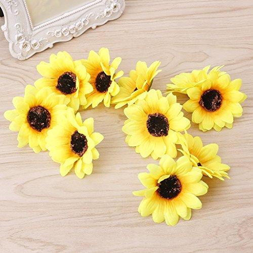 SimpleLife 10 Unidades Falso Girasol Cabeza de la Boda arreglo de Flores para la decoración del hogar Partido centros de Mesa Florales decoración Amarilla