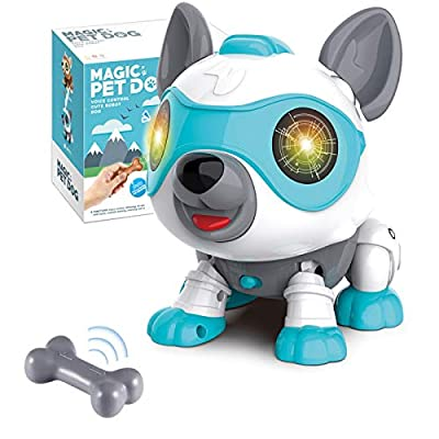 LETBEFUNA Toys for 3-5 Year Old Kids, Electronics Puppy Pet Dog Robot with RGB Light Flashing Eye & DIY Touch Control,Pre-Kindergarten STEM Educational Interactive Toy for Toddler