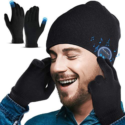 Lenski Idee Regalo Uomo Cappello Bluetooth, Berretto Bluetooth V5.0 Musica Cappello Migliori Regali Natale Original Cappello Sportivo da Esterno Campeggio Sci, Morbidi Lavabili Regali Natale Uomo