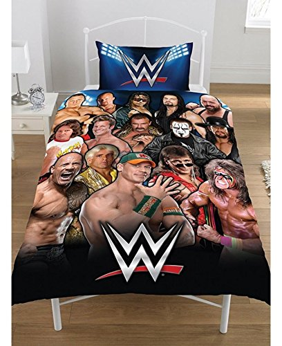 OFFICIAL REVERSIBLE WWE SINGLE DUVET/QUILT COVER BED SET WRESTLING STARS LEGENDS, (LEGENDS, SINGLE)