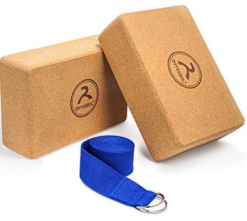 arteesol Cork Yoga Brick, Bloque de Yoga de Corcho 100% Natural, Accesorios de Yoga para Yoga, meditación, Pilates, Estiramiento, Paquete de 2