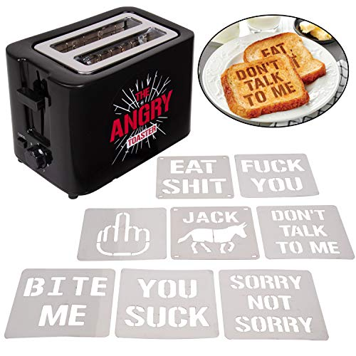 """""""The Angry Toaster"""" 2-Slot Impression Toaster with 8 Interchangeable Morning Insults Plates - 7 Browning Control Settings - Make Someone"""