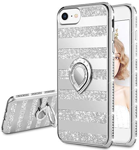 wlooo Glitter Cover per iPhone SE 2020, iPhone 6 6S 7 8 Bling Luccichio Pendenza Diamante Strass Cover Anello Supporto Ring Kickstand TPU Silicone Brillantini Custodia Case Cover (Stripe Argento)