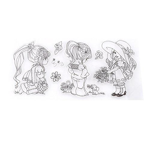 Álbum de fotos de álbum de recortes Sellos transparentes de goma de silicona transparente Chicas de dibujos animados para álbum de recortes DIY / Fabricación de tarjetas Suministros