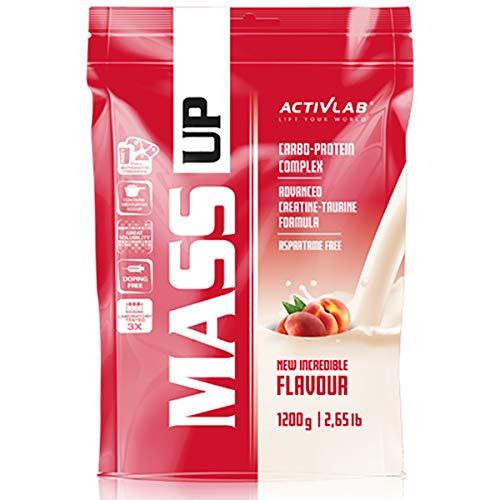 Activlab Mass Up 1 confezione x 1200 g di proteine del siero di latte in polvere e carboidrati Integratori alimentari con guadagno di massa di creatina (Peach)