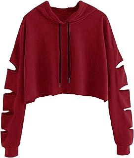 3269705d95b55 Dihope, Sweat -Shirt à Capuche Tops Manche Longue Femme Automne Printemps  Pull-Over