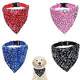 Mikqky 4 Piezas Collar del Pañuelo de la Ropa del Perro, Pañuelo Retráctil Ajustable para Perros Gatos y Cachorros Bufanda para Mascotas Pequeñas y Medianas