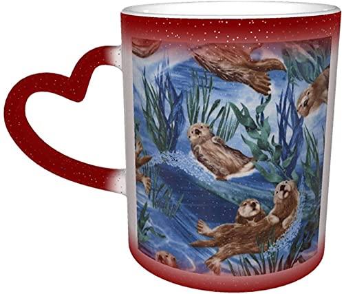 MENYUAN Taza mágica con diseño de nutria marina sensible al calor, color cambiante en el cielo, divertido arte, tazas de café, regalos personalizados para los amantes de la familia, amigos, rojo
