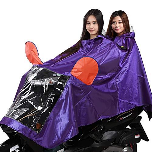 Imperméable masque amovible, poncho de voiture électrique moto deux personnes, imperméable adulte épaissi (Couleur : Violet-XXXL)