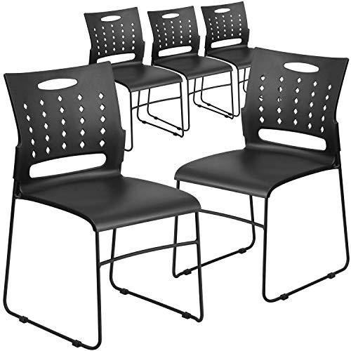 Flash Furniture 5 Pk. HERCULES Series 881 lb. Capacity Black Sled Base Stack Chair with Air-Vent Back