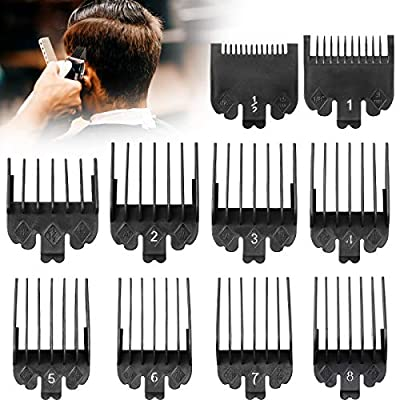 10 Pieces Hair Clipper Limit Comb Guide Attachment Cutting Guide Comb Replace for and Compatible with Wahl Clippers and Trimmer Comb (Black)
