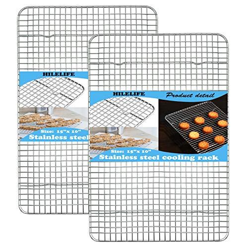 HILELIFE Stainless Steel Cooling Rack - 2 Pcs Baking Rack, 15 x 10 inches Cookie Rack Cooling, Baking Racks Cooling, Narrow Grid Cooling Racks for Cooking, Oven Safe, Dishwasher Safe