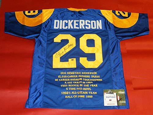 ERIC DICKERSON AUTOGRAPHED LOS ANGELES RAMS THROWBACK STAT JERSEY AASH HOF 99